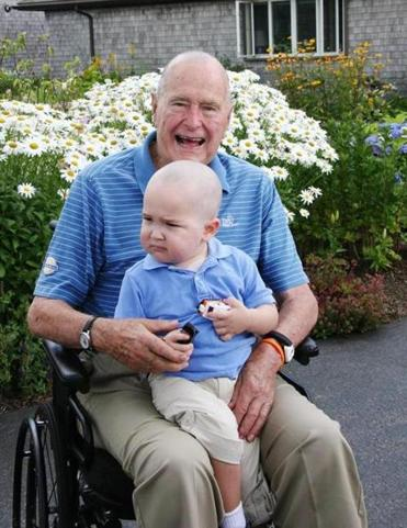 George H. W. Bush and Patrick, the son of one of the members of his Secret Service detail,